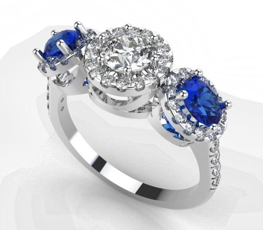 Flower frame blue fancy cut diamond ring