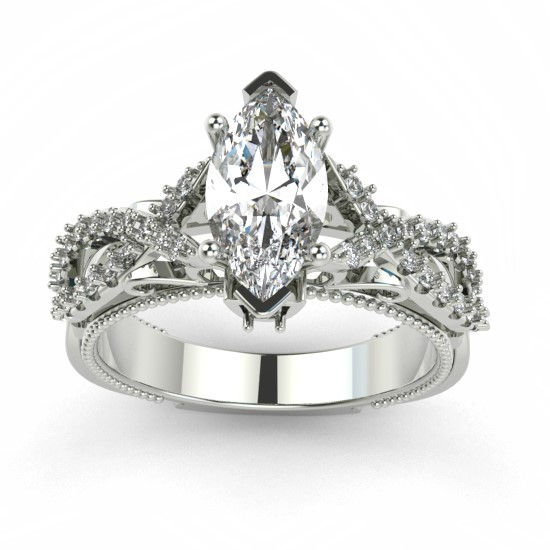 Marquise cut diamond charming engagement ring