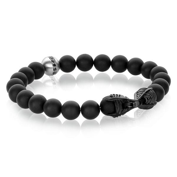 Matte black genuine onyx bead bracelet