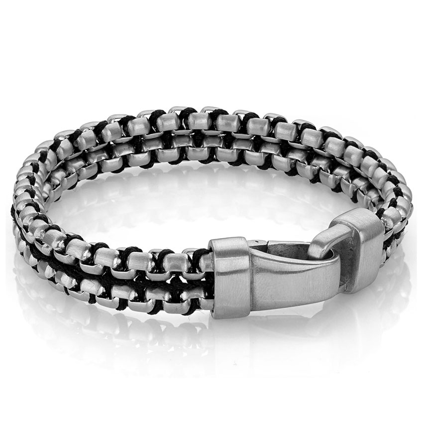 Matte Stainless steel rounded box double row link bracelet