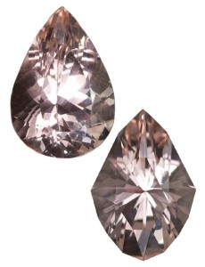 According to gem cutter Lisa Elser, recutting this pear-shaped morganite was more cost-effective than buying a large rough stone that was clean enough for the final product.