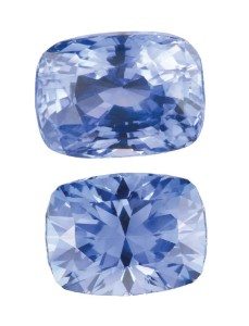 A full recut of the crown and pavilion on this rectangular cushion-cut light blue sapphire improved its value greatly. Recut by J.L. White Fine Gemstones.