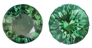 On the left is a poorly cut green tourmaline. Note the large window and uneven facets on the crown. Cut by John Dyer and Co., the stone on the right exhibits good symmetry, more brilliance, and no window.