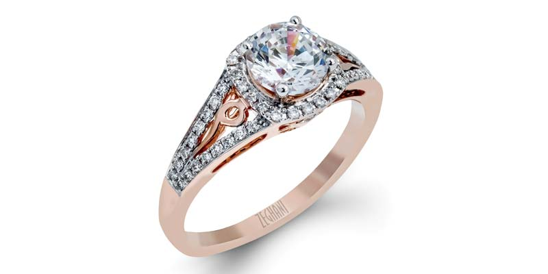 14-karat rose gold engagement ring by Zeghani by Simon, with round white diamonds (.23 ctw).