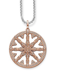 Sterling silver and rose-gold plated pendant by Thomas Sabo, with mother-of-pearl and synthetic zirconia.