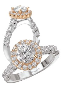 18-karat two-tone engagement ring by Kim International, with 6.5-mm round centre.