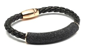 Sterling silver and 18-karat rose gold-plated bracelet by Pesavento,  with hand-woven Italian leather and black diamond dust.