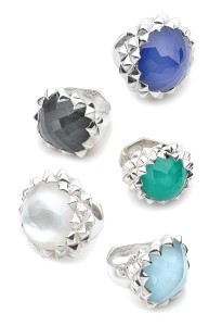 Silver rings by Stephen Webster, with assorted stones accented  with mother-of-pearl and clear quartz.