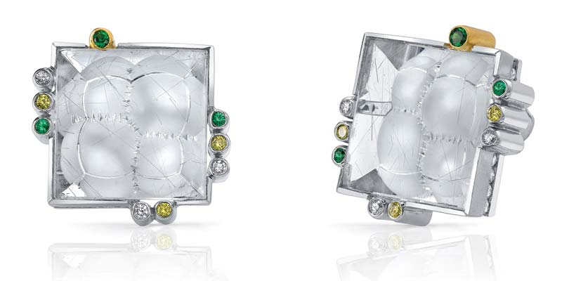 Platinum cufflinks by Mark Schneider accented with 18-karat yellow gold. Featuring a 19.12-carat and a 19.15-carat rutilated quartz, tsavorites (.22 ctw),  and yellow and white diamonds (2.17ctw).