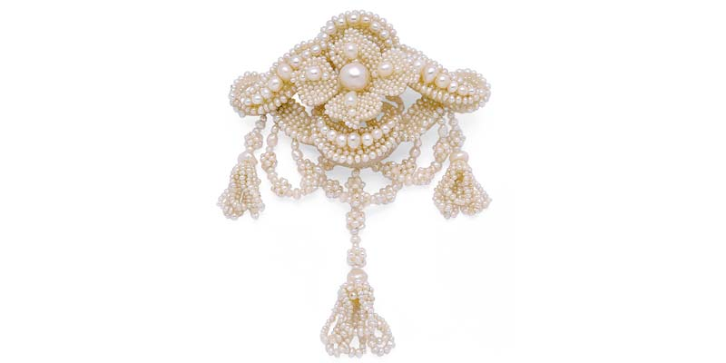 Mid-19th century seed pearl brooch, with elaborate knot motif by Tiffany & Co.