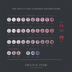 Argyle's colour grading chart for pink and blue diamonds.