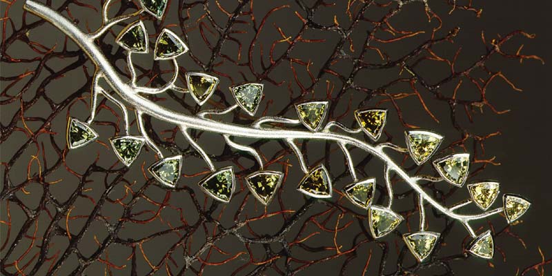'Ivy League' platinum brooch, with hand-fabricated branches and bezels.