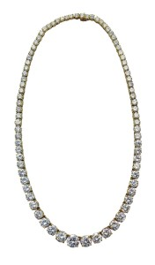 Each diamond in this rivière necklace was accompanied by either a GIA or EGL USA report prepared 25 years ago. The grades for each stone were surprisingly similar between the labs.