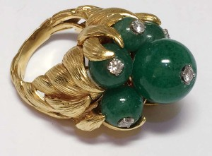 Vintage pieces like this gold and chrysoprase cocktail ring by David Webb are rare; however, you will still be able to arrive at a credible explanation of your research, analysis, and opinion of value for a comparable piece.