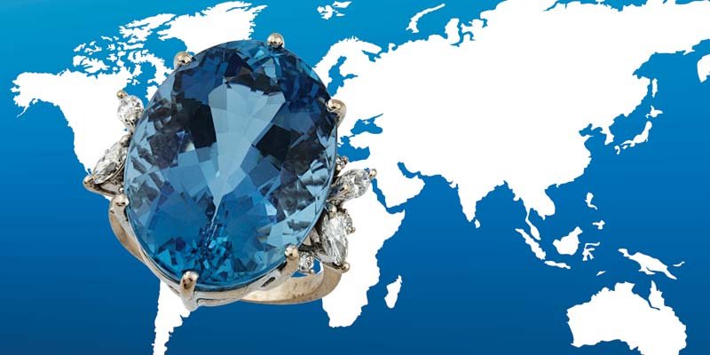 Inclusions in this exceptional aquamarine proved it to be a natural gemstone, but were not diagnostic of origin.