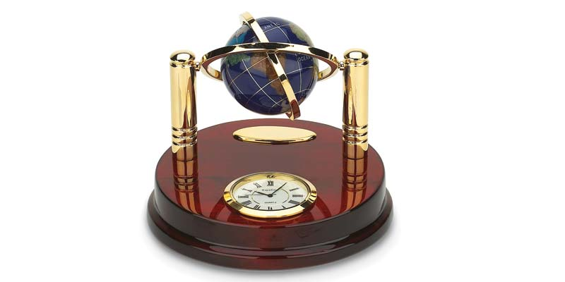 Lapis globe on brass stand with clock by Stuller, Inc.