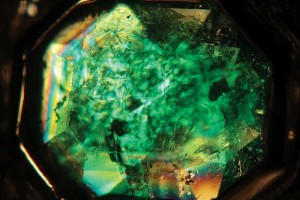 Examination using crossed polarizers and viewed near the optic axis revealed a growth pattern found in some Colombian emeralds from the Muzo and Cosquez regions.