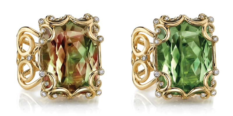 18-karat gold ring by Erica Courtney, featuring zultanite as seen in mixed light (left) and sunlight.
