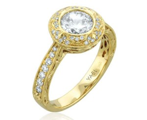 18-karat yellow gold semi-mount with one-carat centre by Yael Designs.