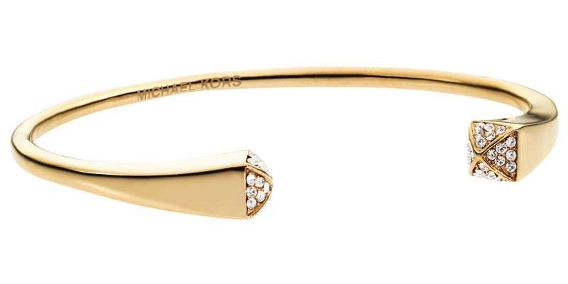 Gold-tone stainless steel cuff bracelet by Michael Kors, with IP finish and crystals.