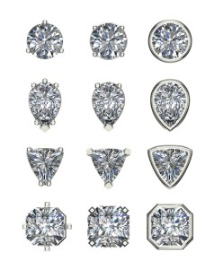 A comparison of different claw settings versus bezel settings to accent the shape of diamonds.