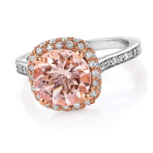 18-karat rose and white gold ring by Makur Designs, with 2.2-carat morganite and diamonds (.46 ctw).