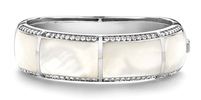 Rhodium-plated sterling silver bangle by Ti Sento with shell pearl and hand-set cubic zirconia.
