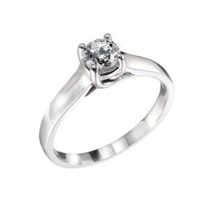 14-karat white gold ring by Basal Diamonds set with a .30-carat Canadian diamond.