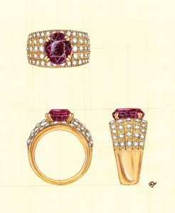 Our customer chose the 'spot-on' design for her garnet ring.