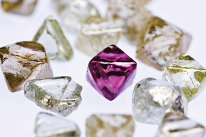A group of brown and pink rough diamonds from Rio Tinto's Argyle mine.
