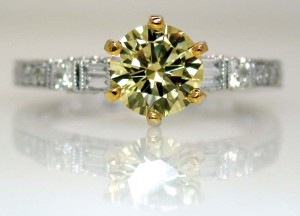 A 'cape' diamond. The term has been in use since large quantities of fancy light yellow diamonds were found in the late 1800s in South Africa's Cape province.