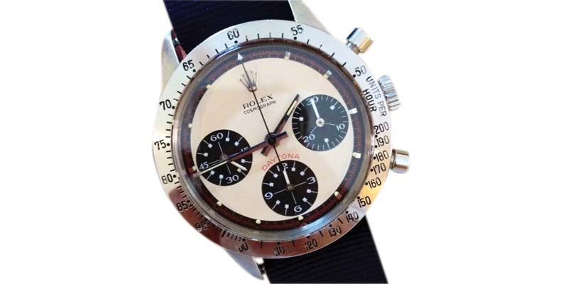 A Rolex Oyster Cosmograph Daytona (reference #6239), the so-called 'Paul Newman.' It originally sold for $600 in the late 1960s. Today, it's worth $100,000.