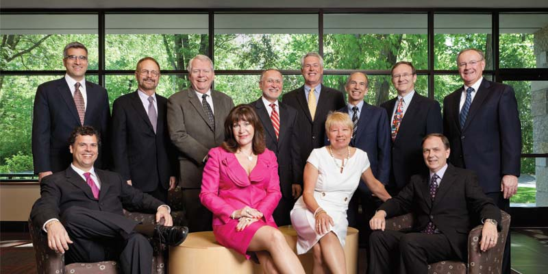Jewelers Mutual's current board of directors [Top left to right] Alex Barcados, vice-chair of the Audit Committee; Hugh Glenn; Carl Rudolph, chair of the Audit Committee; Darwin Copeman, president and CEO; Dave Lundgren, chair of the Compensation and Benefits Committee; Jonathan Bridge, vice-chair of the Governance Committee; John Michaels, chair of the Governance Committee; Mark Fiebrink, vice-chair. [Bottom left to right] Craig Underwood, vice-chair of the Compensation & Benefits Committee; Cathy Calhoun, vice-chair of the Investment Committee; Nancee James, chair; Kurt Steckbeck, chair of the Investment Committee.