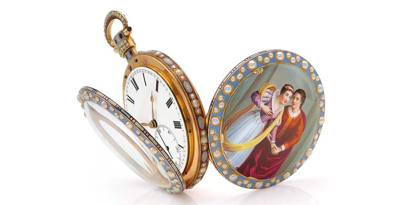 An antique pearl, enamel, and gold duplex pocket watch by Bovet, London, early 19th century.