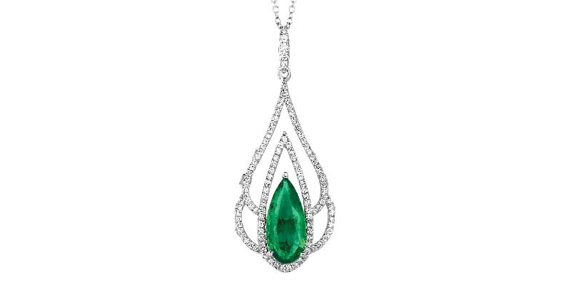 Diamond and emerald pendant by Le Vian.
