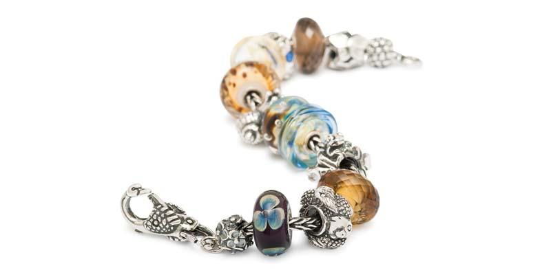 Silver, quartz, and glass bead bracelet by Trollbeads.