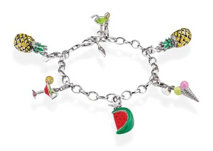 Amore & Baci silver bracelet with various enamel charms.