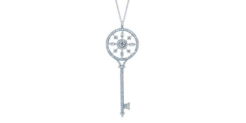 Round key pendant with marquise (0.25-ctw), square (0.17-ctw), and round (0.76-ctw) brilliant-cut diamonds in platinum by Tiffany & Co.