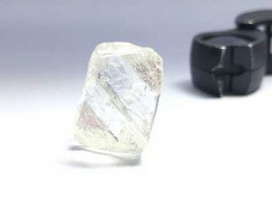This 95-carat diamond was discovered at Gahcho Kué in the Northwest Territories in May. Photo courtesy Mountain Province Diamonds