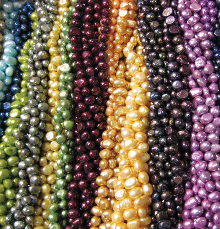 Dyed cultured pearls, easily identifiable from their unnatural colours.
