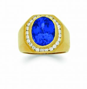 A men's tanzanite, diamond, and gold ring. Photos courtesy Dupuis Fine Jewellery Auctioneers