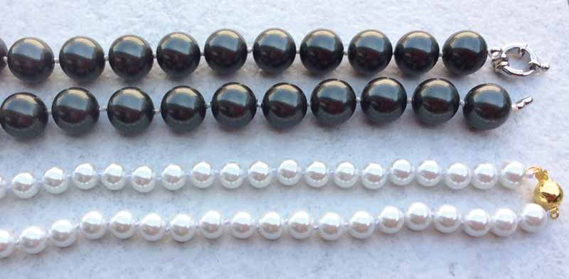 These coated shell beads were sold as shell pearls.