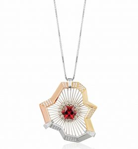 This 'Northern Lights' pendant earned Toronto-based Varouj Tabakian an honourable mention in the classical category at the 2017 American Gem Trade Association (AGTA) Spectrum Awards. It is made with 18-karat gold, platinum, round and baguette-cut diamonds, and a 3.79-carat rubellite tourmaline. Photo courtesy AGTA