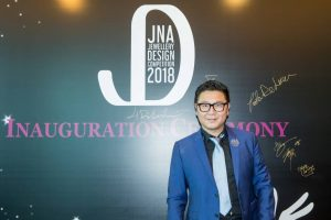Fei Liu, award-winning designer and chair of the judging panel of the JNA Jewellery Design Competition, attends the contest's launch at the June Hong Kong Jewellery & Gem Fair on June 21. Photo courtesy JNA