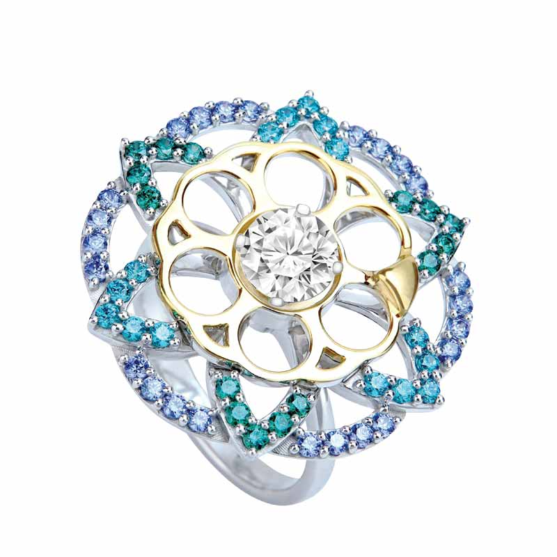Spinning 'Soul Carousel' ring in sterling silver with Swarovski created stones, from the 'Coronet' collection by Reena Ahluwalia.