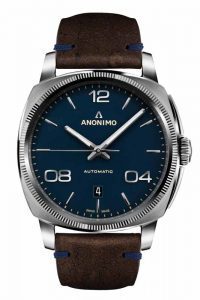 'Epurato' automatic watch by Anonimo featuring matte blue dial, steel case, and anti-reflective sapphire crystal along with 38-hour power reserve. Waterproof to 5 ATM.