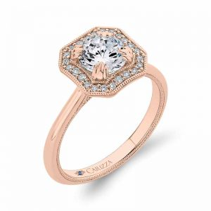 Semi-mount engagement ring with round diamond halo in 18-karat rose gold, hand-set with 0.18 carats of diamonds, by Carizza.