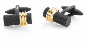 Black and gold ion-plated (IP) stainless steel cufflinks by Italgem Steel.