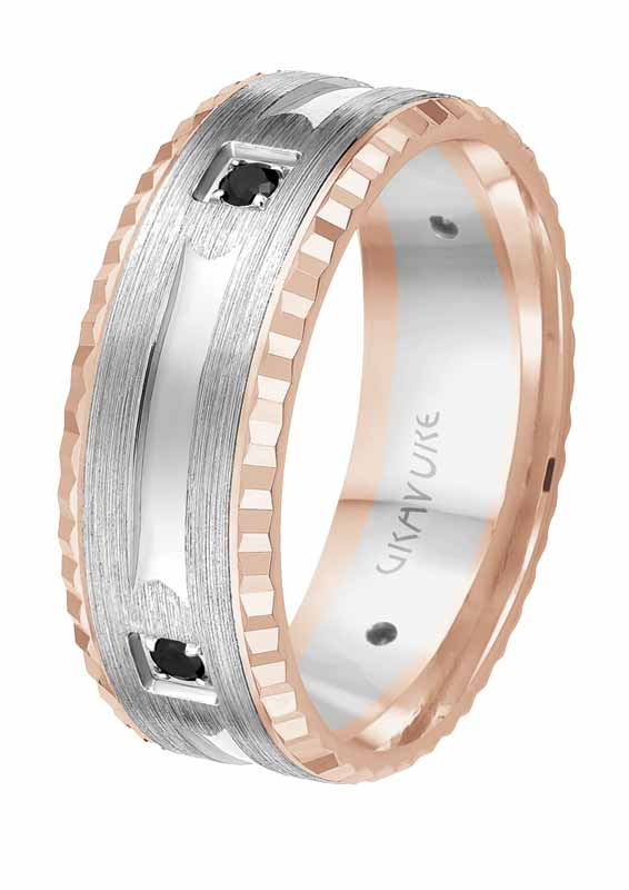Rose and white gold ring set with black diamonds from the 'Passion Noir' collection by Gravure Commitment/Atlantic Engraving.