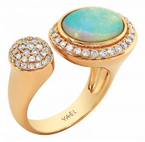 18-karat gold ring with diamonds and 1.76-carat white opal from YAEL's new 'Toi & Moi' collection.